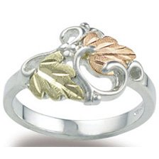 Black Hills Gold On Sterling Silver Leaves & Vines Ladies Ring