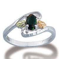 Black Hills Gold Lab Created Black Opal Sterling Silver Ring