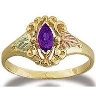Black Hills Gold Genuine Marquise Amethyst Ring