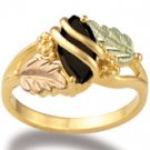 Black Hills Gold Black Onyx Marquise Ladies Ring