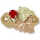 Black Hills Gold Genuine Red Ruby Ladies Ring