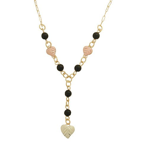 Black Hills Gold Necklace Faceted Round Black Onyx