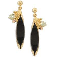 Black Hills Gold Black Onyx Marquise Earrings