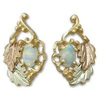 Black Hills Gold Leaves & Lab Created Opal Earrings