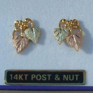 Black Hills Gold 2 Leaves & Grapes Post Earrings