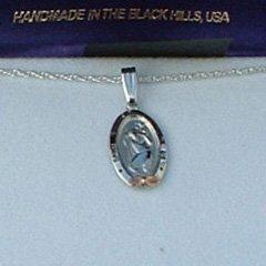 Black Hills Gold Sterling Silver St. Christopher Medal Necklace