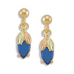 Black Hills Gold Synthetic Blue Spinel Nivet Post Earrings