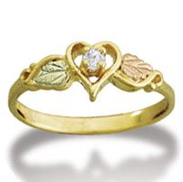 Black Hills Gold .05 Diamond In Heart Ladies Ring
