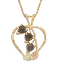 Black Hills Gold Lab Created Black Opal Hearts Necklace