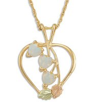 Black Hills Gold Lab Created Opal Hearts Necklace