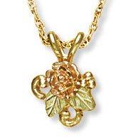 Black Hills Gold Rosebud & Grapes Pretty Necklace
