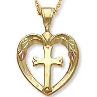 Black Hills Gold Solid 10K Heart Cross Necklace