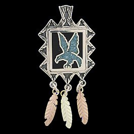 Black Hills Gold Pendant Necklace Turquoise Eagle Sterling Silver
