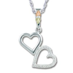 Black Hills Gold On Sterling Silver Hearts Necklace