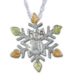 Black Hills Gold Snowflake Snowman Sterling Silver Necklace