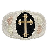 Black Hills Gold Ring Mens 10K Cross Antiqued Sterling Silver