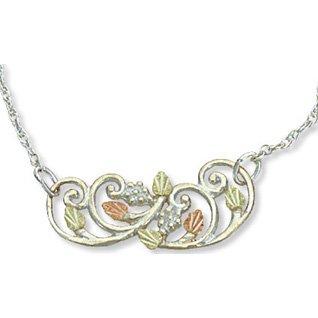 Black Hills Gold Leaves On Sterling Silver Necklace