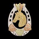 Black Hills Gold Necklce Silver Horseshoe 10K Horse