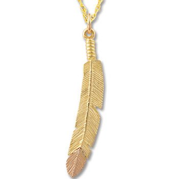 Black Hills Gold Feather 10-12K Gold Necklace