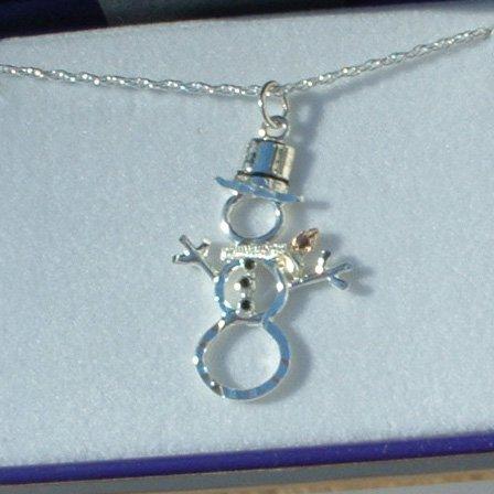 Black Hills Gold Sterling Silver Snowman Pendant  Necklace