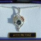 Black Hills Gold Round Mystic Fire Topaz Sterling Silver Necklace