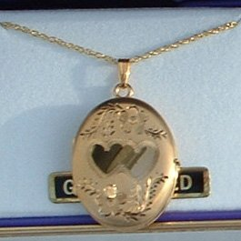 Black Hills Gold Etched Flowers & Hearts Oval 4 Picture Locket Necklace
