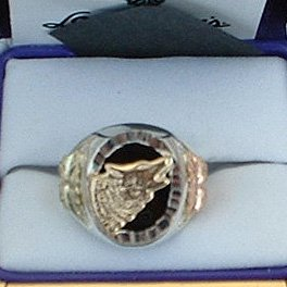 Black Hills Gold Onyx Lone Wolf Men's Silver Ring