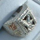 Black Hills Gold Ring Mens Black Onyx & Eagle Sterling Silver