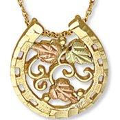 Black Hills Gold Leaves & Grapes Horseshoe Necklace
