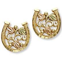 Black Hills Gold Leaves & Grapes Horseshoe Post Earrings