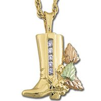 Black Hills Gold Diamond .10 TDW Cowboy Boot Necklace