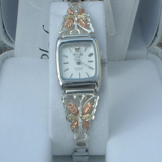 Black Hills Gold Watch Ladies Sterling Silver Diamond & Butterfly