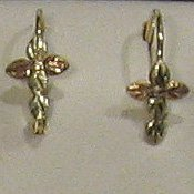 Black Hills Gold 5 Leaves Cross Leverback Earrings