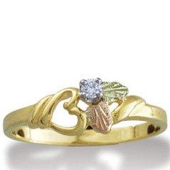 Black Hills Gold Diamond Heart Ladies Ring .05 TDW