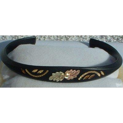 Black Hills Gold Fancy Black Enamel Cuff Bracelet