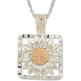 Black Hills Gold Sterling Silver Sunflower Necklace