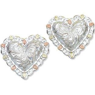 Black Hills Gold On Sterling Silver Heart Post Earrings