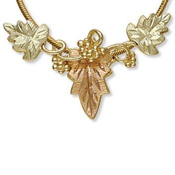 Black Hills Gold 3 Leaves & Grapes Slider Necklace