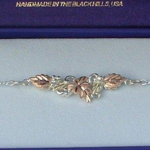 Black Hills Gold 4 Leaves On Sterling Silver Link Bracelet