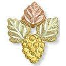 Black Hills Gold 3 Leaf & Grape Cluster Tie Tack