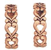 Copper Earrings Hearts 1/2 Hoop Post Hypoallergenic