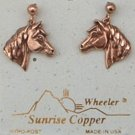 Sunrise Copper Earrings Horse Dangle Post