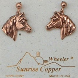 Sunrise Copper Earrings Horse Dangle Post