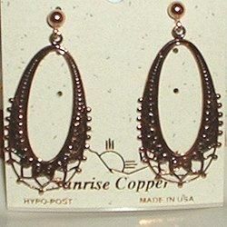 Copper Earrings Fancy Dangle Post Hypoallergenic