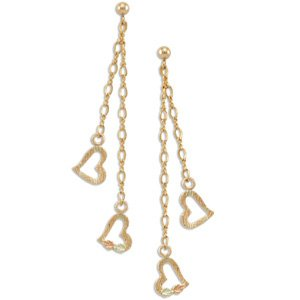 Black Hills Gold Leaves & Dangling Hearts On Chains Earrings
