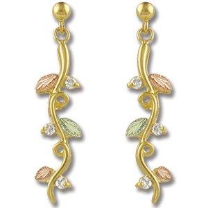Black Hills Gold Vines Diamond Post Earrings .18 TDW
