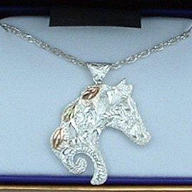 Black Hills Gold Sterling Silver Horse 3 Leaves Necklace
