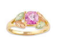 Black Hills Gold Lab Created Pink Sapphire Ladies Ring