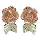 Black Hills Gold Earrings Rose Post Highly Detailed