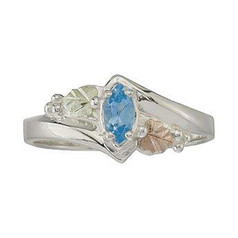 Black Hills Gold Ring Ladies 6 X 3mm Blue Topaz On Sterling Silver